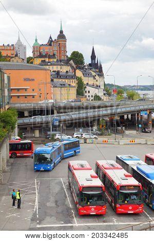 Stockholm, Sweden - July 25, 2017: Parking lot for buses near Slussen station in Stockholm
