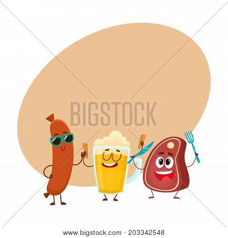 Happy beer mug, meat steak and frankfurter sausage characters having party, cartoon vector illustration with space for text. Funny smiling beer mug, steak and sausage characters celebrating