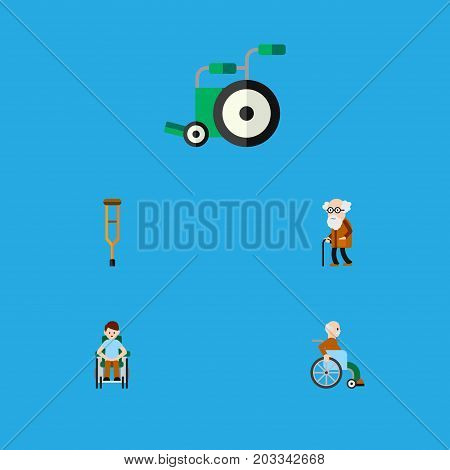 Flat Icon Disabled Set Of Equipment, Handicapped Man, Stand Vector Objects