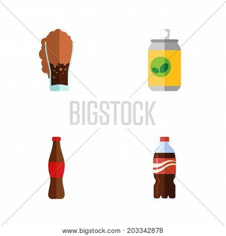 Flat Icon Soda Set Of Bottle, Soda, Beverage And Other Vector Objects