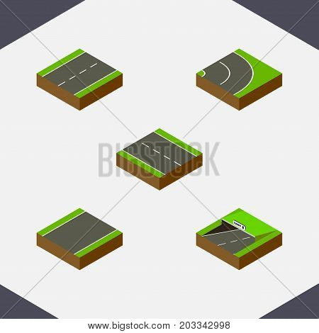 Isometric Way Set Of Driveway, Single-Lane, Subway And Other Vector Objects