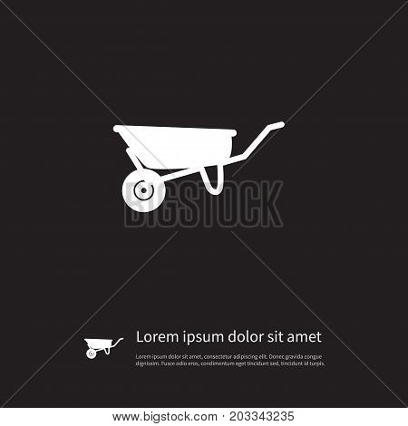 Wheelbarrow Vector Element Can Be Used For Cart, Wheelbarrow, Pushcart Design Concept.  Isolated Cart Icon.