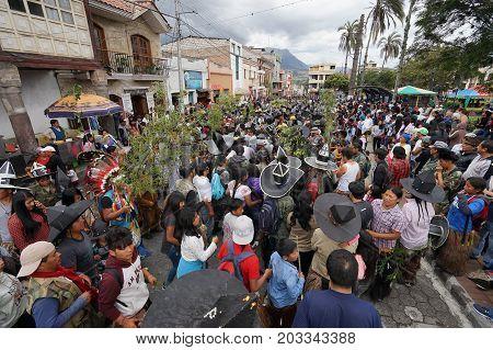 June 29 2017 Cotacachi Ecuador: indigenous quechua people at Inti Raymi summer solstice celebration