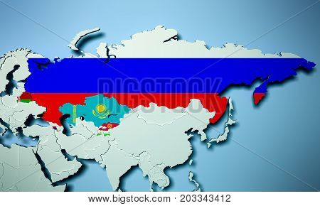 Collective Security Treaty Organization On Map 3D Illustration