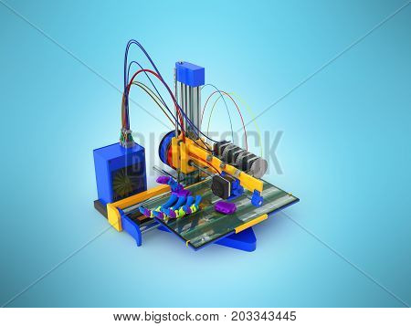The Concept Of 3D Printer Printing Prosthesis 3D Render Prosthesis On Blue Background