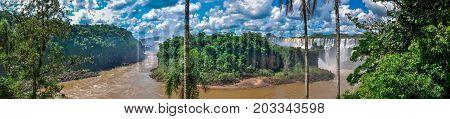Panoramic view Argentina Iguazu falls and river