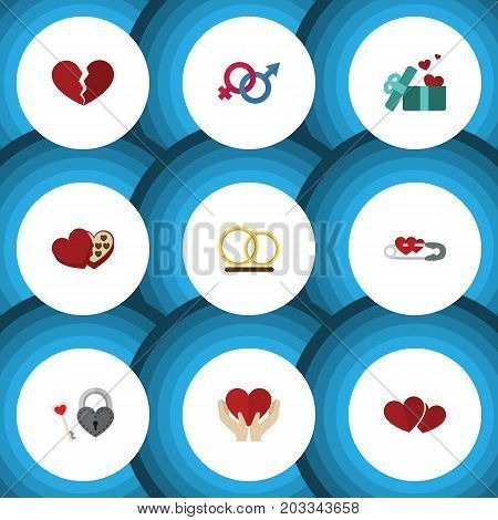 Flat Icon Heart Set Of Key, Divorce, Soul And Other Vector Objects