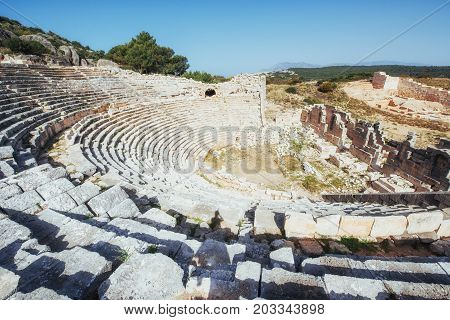 The ruins of the old amphitheater in Turkey.
