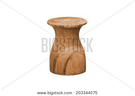 Wooden chair simplistic on white background work with path.