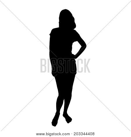 Silhouette of a barefoot girl standing in shorts and a t-shirt with hand on hip vector illustration
