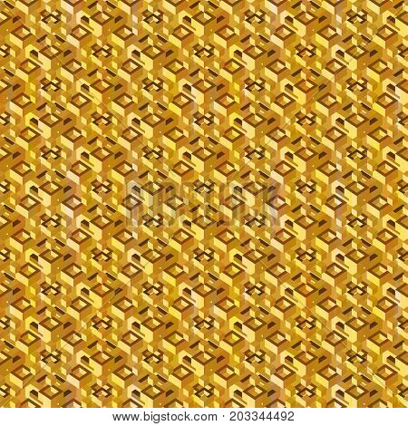 Abstract isometric golden seamless pattern. Luxury stock vector endless background.