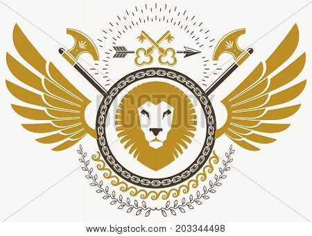 Luxury heraldic vector emblem template made using bird wings wild lion illustration and armory