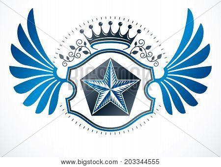 Luxury heraldic vector emblem template. Vector blazon composed using monarch crown and pentagonal stars heraldry insignia