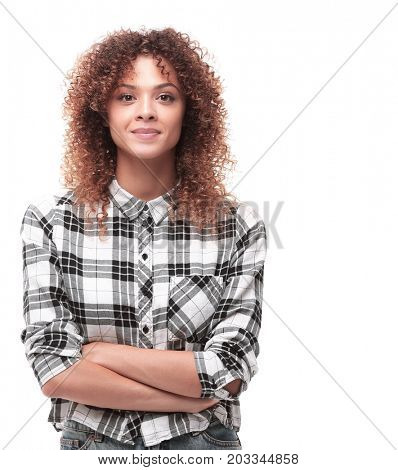 confident young woman in plaid shirt
