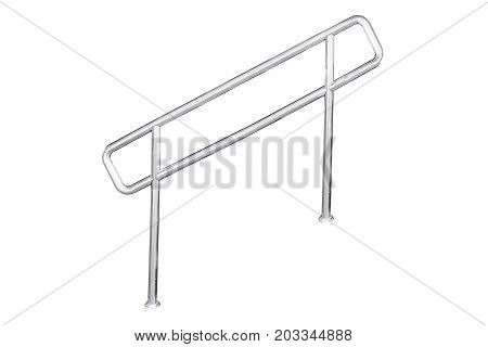 Stainless steel staircase railing isolated on white with clipping path.