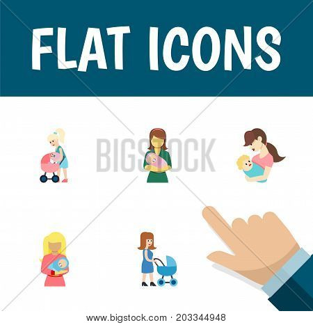 Flat Icon Parent Set Of Child, Kid, Perambulator And Other Vector Objects