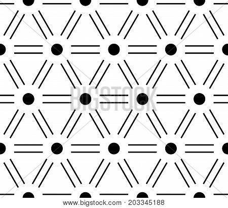 Abstract seamless pattern background. Regular diagonal grid of double solid lines with dots in the cross points. Vector illustration.