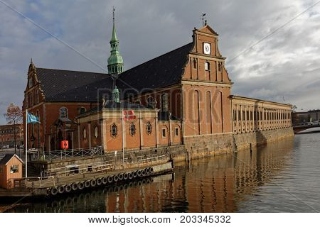 COPENHAGEN, DENMARK - NOVEMBER 7, 2016: View to Church of Holmen. Built as an anchor forge in 1563, it converted to church in 1619 and hosted the wedding of  Margrethe II and Prince Henrik in 1967