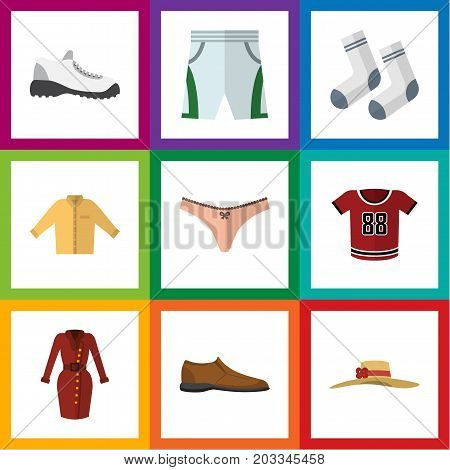 Flat Icon Dress Set Of Banyan, Sneakers, Foot Textile And Other Vector Objects