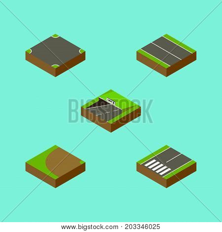Isometric Way Set Of Turning, Flat, Crossroad And Other Vector Objects