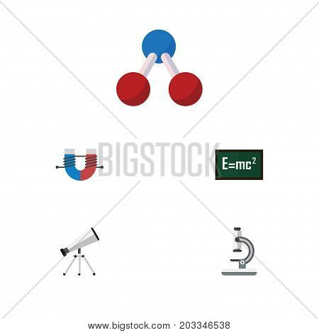 Flat Icon Study Set Of Theory Of Relativity, Scope, Nuclear And Other Vector Objects