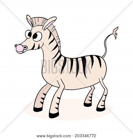 Cartoon cute zebra, vector illustration, coloring zebra