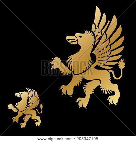 Winged Gryphon mythical animal ancient emblems elements set. Heraldic vector design elements collection. Retro style label heraldry logo.