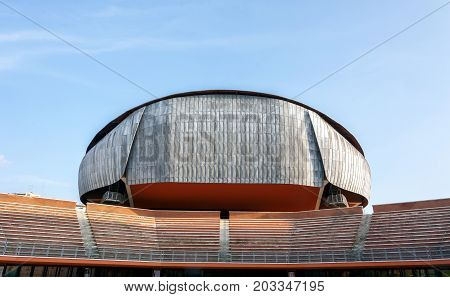 Rome, Italy, april 7, 2017: external view of the Auditorium Parco della Musica, designed by Italian architect Renzo Piano, Rome, Italy