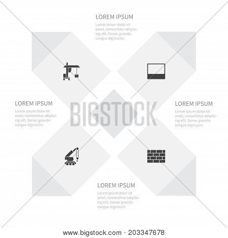 Icon Building Set Of Construction Car, Masonry, Hook And Other Vector Objects