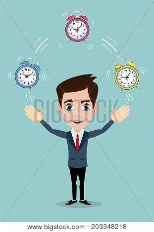 Businessman juggling with alarm clocks, symbolizing time management. Stock flat vector illustration.