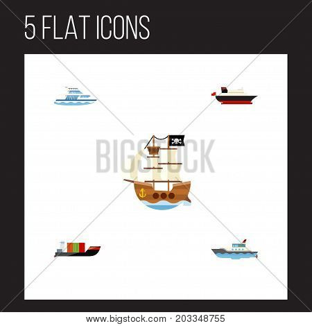 Flat Icon Ship Set Of Tanker, Boat, Sailboat And Other Vector Objects