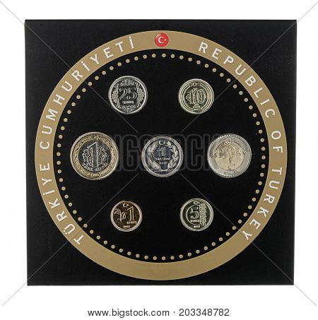 Turkish circulation coin set of 2017 isolated on white background.