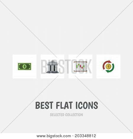 Flat Icon Finance Set Of Bank, Greenback, Interchange And Other Vector Objects