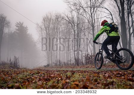 Mountain biker on trail in woods. Bike rider in winter or autumn landscape forest. Man cycling MTB on rural country road. Sport fitness motivation and inspiration. poster