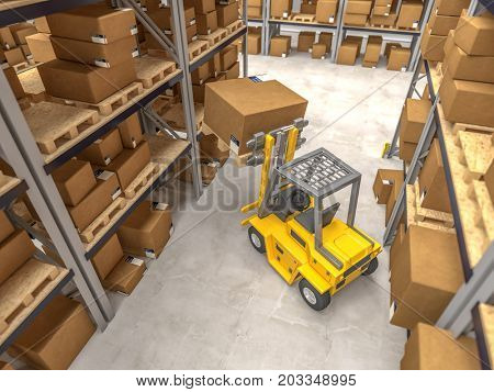 warehouse and yellow forklift in action 3d rendering image