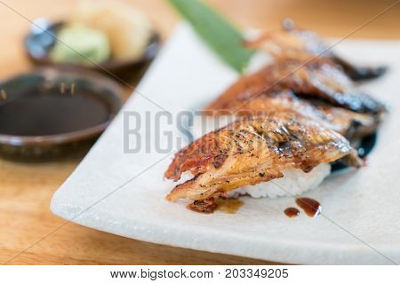 Close up of Unagi Sushi Set Japan eel. Japan food concept in Japanese food restaurant.