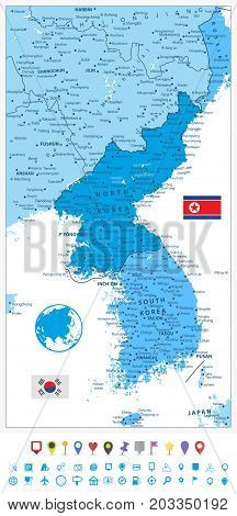 Korean Peninsula Map in colors of blue and flat navigation icons North And South Korea Map with cities and capitals.