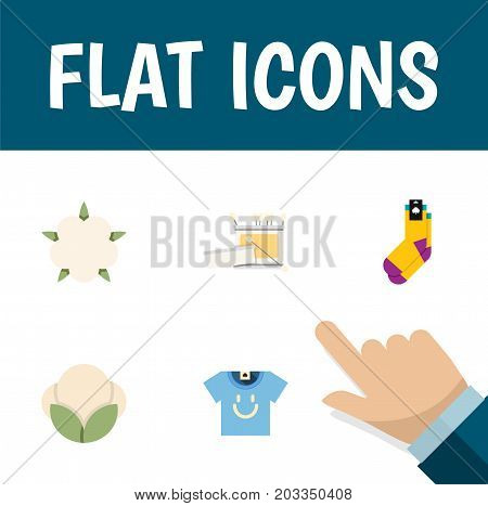 Flat Icon Fiber Set Of Knitting, Hosiery, Fiber And Other Vector Objects
