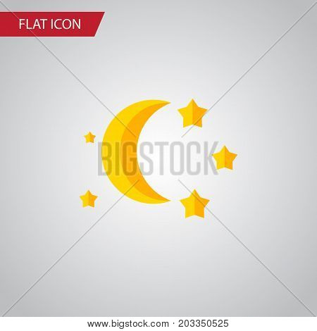 Bedtime Vector Element Can Be Used For Twilight, Moon, Star Design Concept.  Isolated Twilight Flat Icon.