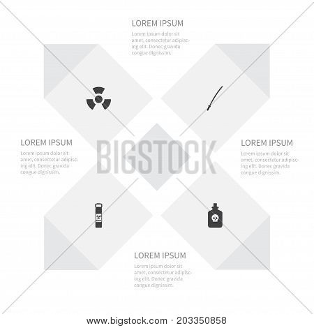 Icon Battle Set Of Biology Peril, Substance, Poniard And Other Vector Objects