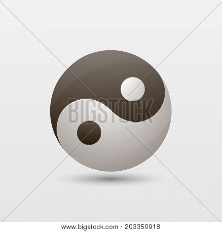 Yin yang glyph icon. Silhouette logo. Negative space. Vector isolated illustration