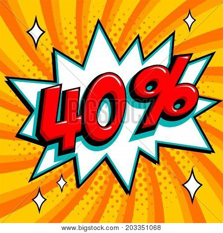 Orange sale web banner. Sale forty percent 40 off on a Comics pop-art style bang shape on yellow twisted background. Big sale background. Pop art comic sale discount promotion banner. Seasonal discounts, Black Friday, the interest rate, etc. Perfect for t