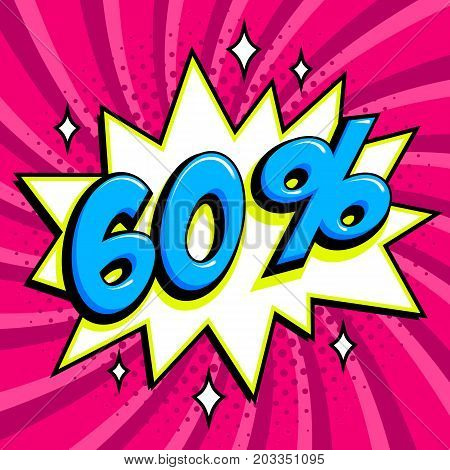 Purple sale web banner. Sale sixty percent 60 off on a Comics pop-art style bang shape on pink twisted background. Big sale background. Pop art comic sale discount promotion banner. Seasonal discounts, Black Friday, the interest rate, etc. Perfect for tag