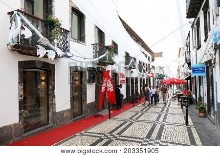 PONTA DELGADA, 10 AUGUST 2017 - Street scene in Ponta Delgada, Sao Miguel Island, Azores, Portugal, Europe