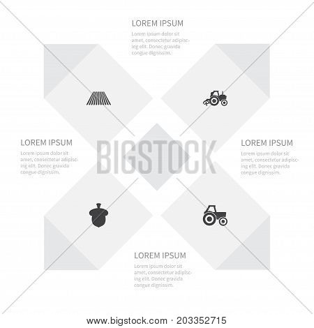 Icon Farm Set Of Seed, Combine-Harvester, Agronomy And Other Vector Objects