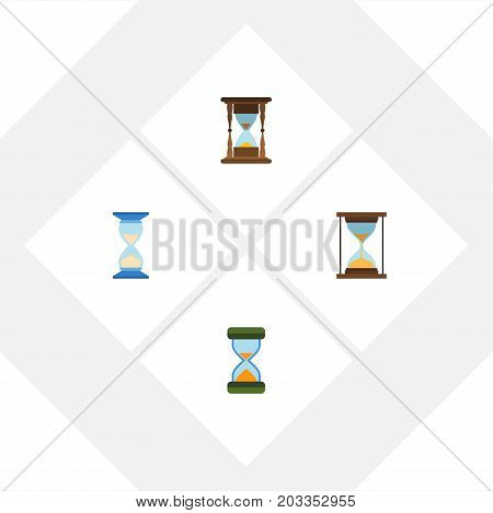 Flat Icon Timer Set Of Hourglass, Minute Measuring, Waiting And Other Vector Objects