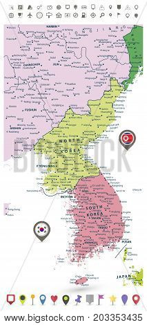 Korean Peninsula detailed political map with flags and navigation icons isolated on white.