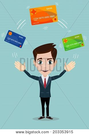 Man in suit shows plastic cards. Bank selection concept, conditions of deposits and credits. Vector, illustration, flat