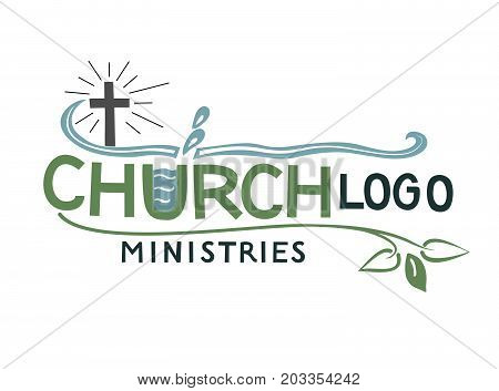 Church logo with cross and leaves. Biblical background. Christian poster. Icon. Ministry