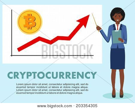 Businesswoman and graph with trend line rising up and coin with a sign of bitcoin in flat style isolated. Bitcoin sign digital currency cryptocurrency electronic money. Cryptocurrency concept. Bitcoin mining exchange mobile banking.